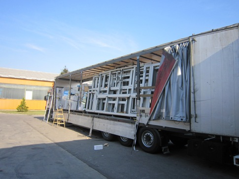 Loading of truck with carpentry