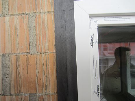 Detail of window installation with a steam-permeable strips